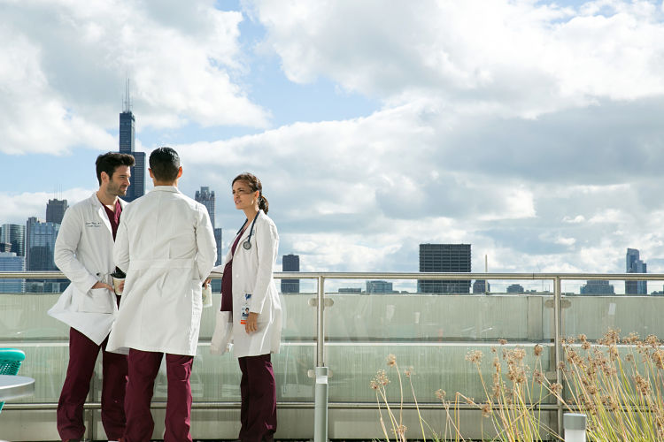 "CHICAGO MED -- ""iNO"" Episode 102 -- Pictured: (l-r) Colin Donnell as Dr. Connor Rhodes, Brian Tee as Dr. Ethan Choi, Torrey DeVitto as Dr. Natalie Manning -- (Photo by: Elizabeth Sisson/NBC)"